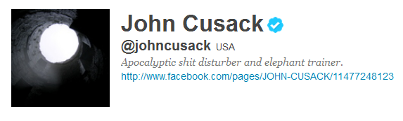 john cusack 12 Funny And Witty Celebrity Twitter Bios