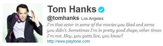 tom hanks 12 Funny And Witty Celebrity Twitter Bios